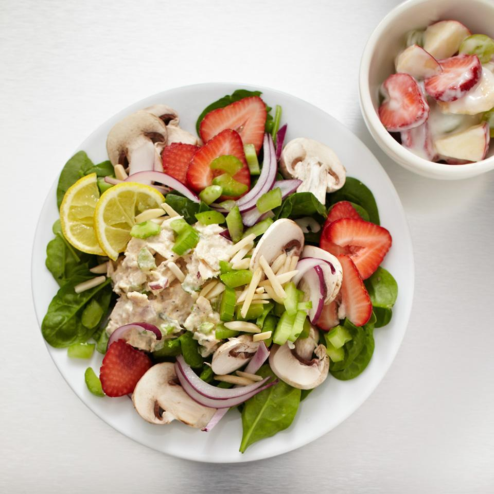 """<p>Enjoy sweet, juicy strawberries paired with nutrient-dense mushrooms and tangy tuna salad. This is the ultimate salad to keep you feeling full. It boasts 20 grams of protein and 10.5 grams of fiber -- both nutrients known to satiate hunger. <a href=""""http://www.eatingwell.com/recipe/266428/strawberry-tuna-spinach-salad/"""" rel=""""nofollow noopener"""" target=""""_blank"""" data-ylk=""""slk:View recipe"""" class=""""link rapid-noclick-resp""""> View recipe </a></p>"""