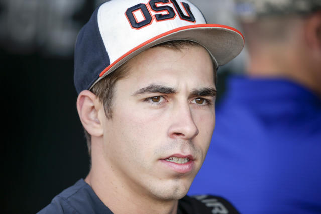 Oregon State pitcher Luke Heimlich is in Taiwan to play for the Lamingo Monkeys, but he might not be allowed. (AP Photo)