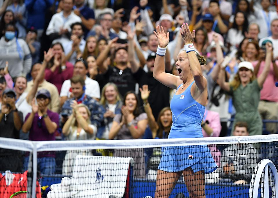 US player Shelby Rogers celebrates at the US Open