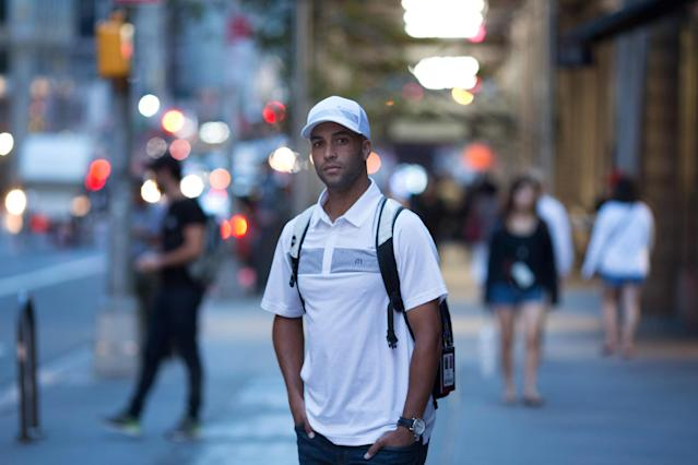 Former tennis athlete and author James Blake, who was tackled and handcuffed by police officers in a case of mistaken identity in front of the Grand Hyatt Hotel during the 2015 U.S. Open, in Manhattan, New York on August 31, 2017. (Kevin Hagen for The Washington Post via Getty Images)