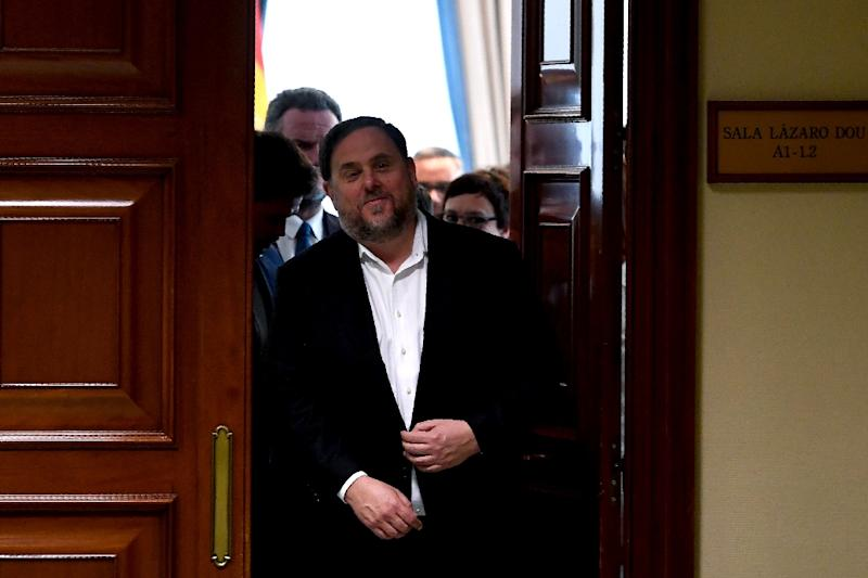 Catalonia's former vice-president and elected member of parliament Oriol Junqueras, a lifelong supporter of independence, could face 25 years in prison if convicted on rebellion and other charges (AFP Photo/PIERRE-PHILIPPE MARCOU)