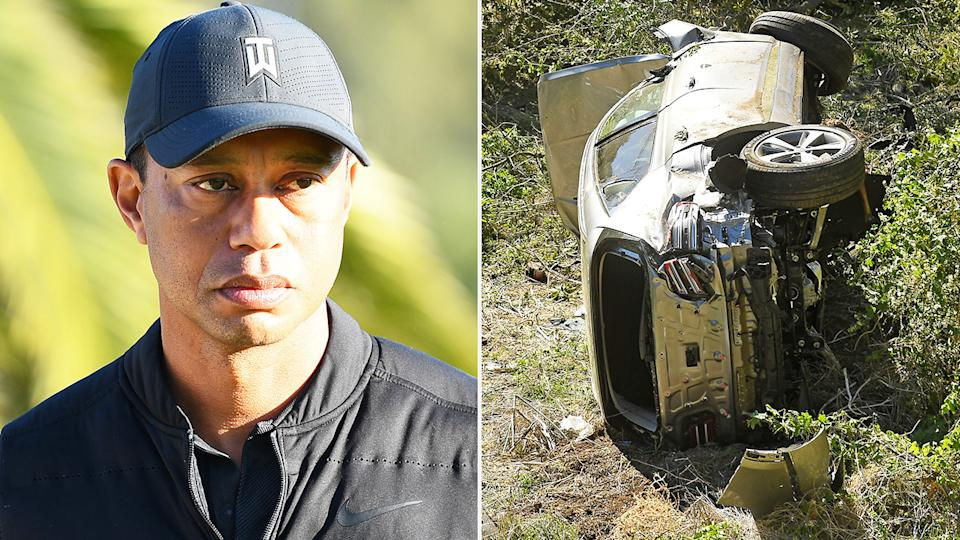 Tiger Woods (pictured left) during a golf tournament and (pictured right) his car crash after the crash in LA.
