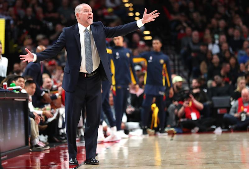 PORTLAND, OREGON - OCTOBER 23: Head Coach Michael Malone of the Denver Nuggets reacts against the Portland Trail Blazers in the fourth quarter during their season opener at Moda Center on October 23, 2019 in Portland, Oregon. NOTE TO USER: User expressly acknowledges and agrees that, by downloading and or using this photograph, User is consenting to the terms and conditions of the Getty Images License Agreement (Photo by Abbie Parr/Getty Images)