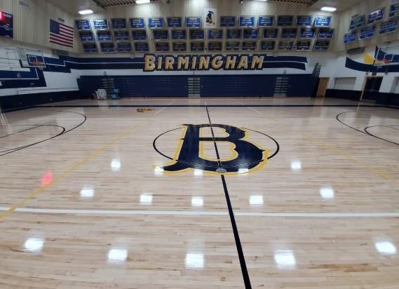 Birmingham has a new gym floor waiting to be used by basketball players when COVID-19 safety protocols allow it.