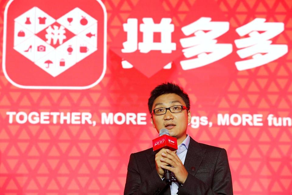 Colin Huang, founder and CEO of the online group discounter Pinduoduo, speaks during the company's stock trading debut at the Nasdaq Stock Market in New York, during an event in Shanghai on July 26, 2018. Photo: Reuters