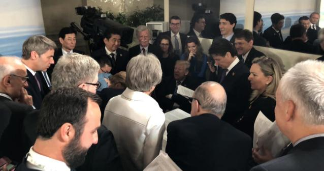 """<p>White House Director of Social Media, Dan Scavino, posted this photo of Donald Trump on June 9, 2018, """"A look at negotiations, from behind the scenes at the #G7Charlevoix Summit. """" (Photo: Dan Scavino via Twitter) </p>"""