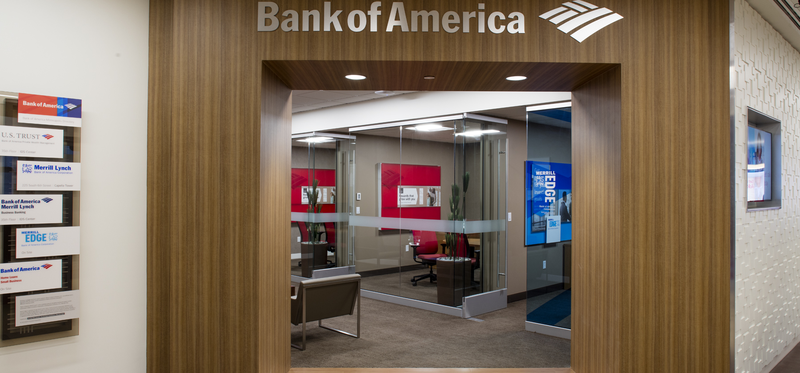 A Bank of America branch entrance.