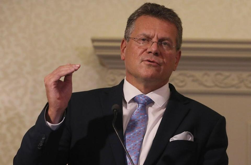 Maros Sefcovic during a press conference at the Crowne Plaza hotel, Belfast (Brian Lawless/PA) (PA Wire)