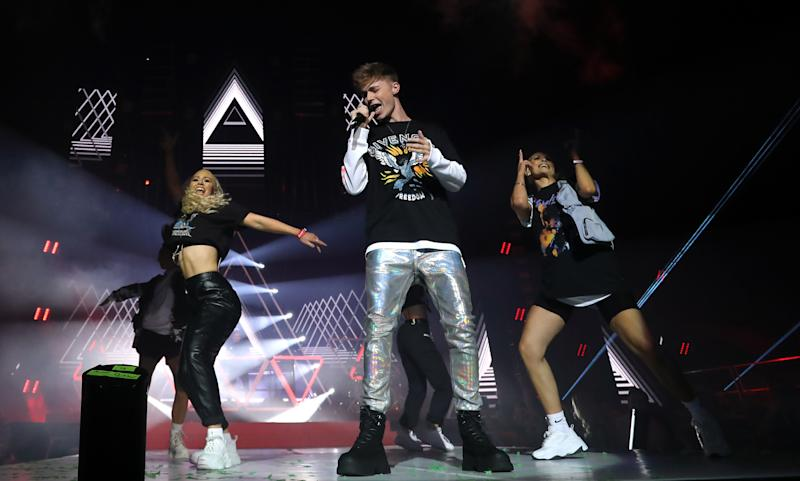 HRVY performs on stage during day one of Capital's Jingle Bell Ball with Seat at London's O2 Arena.
