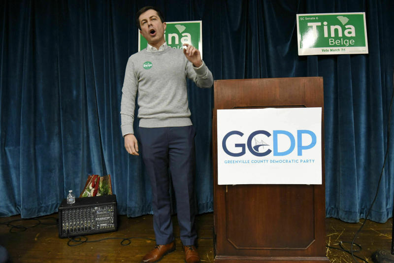 In this March 23, 2019, photo, South Bend Mayor Pete Buttigieg speaks to a crowd about his presidential run during the Democratic monthly breakfast at the Circle of Friends Community Center in Greenville, S.C. Buttigieg was the longest of long shots when he announced a presidential exploratory committee in January. But now the underdog bid is gaining momentum, and Buttigieg can feel it. (AP Photo/Richard Shiro)