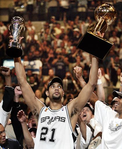 Tim Duncan won five NBA titles and two league MVPs in his 19-year career. (AP)