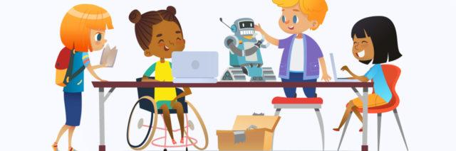 Cartoon of African-American girl in wheelchair working on a project with classmates.