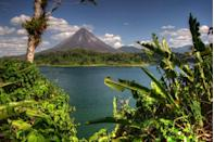<p>The Arenal Volcano rests on the edge of Lake Arenal, which spans 32 square miles in Northern Costa Rica.</p>