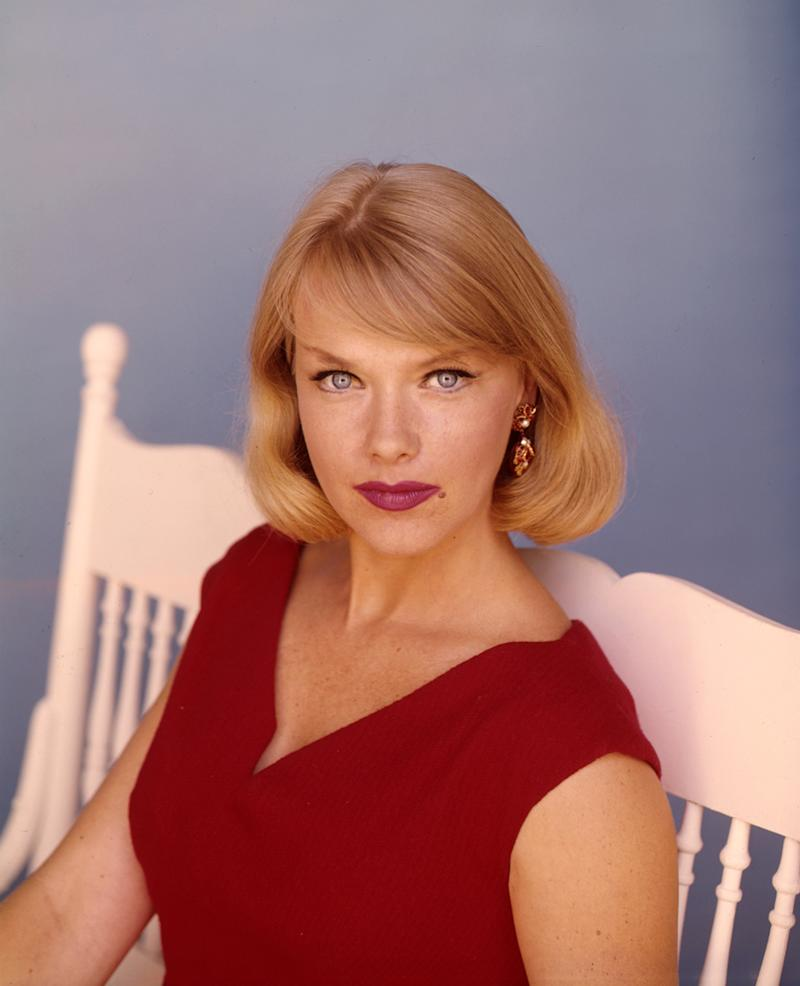 """UNITED STATES - SEPTEMBER 17: HONEY WEST - gallery - Season One - 9/17/65, After the death of her father, Honey West (played by Anne Francis) took over his, high-tech private detective firm, and was assisted by Sam Bolt (John Ericson) and her pet ocelot Bruce. """"Honey West"""" was introduced to TV audiences in the April 1965 episode """"Who Killed the Jackpot?"""" of """"Burke's Law""""., (Photo by Walt Disney Television via Getty Images Photo Archives/Walt Disney Television via Getty Images)"""