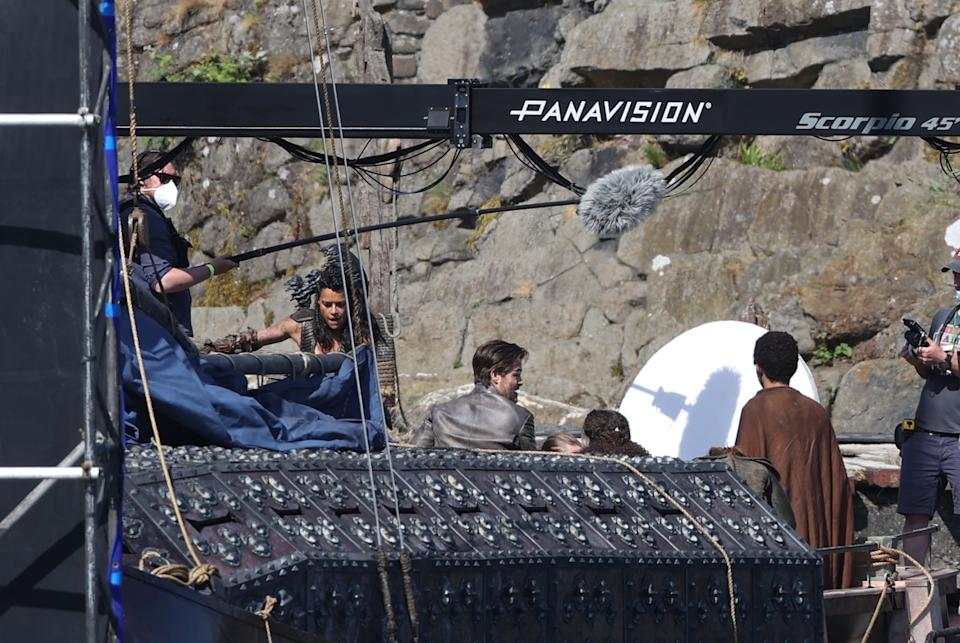 Michelle Rodriguez, Chris Pine and Justice Smith during filming (Liam McBurney/PA)