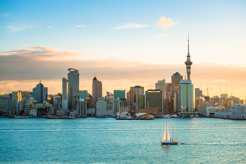 2018, JAN 3 - Auckland, New Zealand, Panorama view, Beautiful landcape of the building in Auckland city before sunset. View from Cyril Bassett VC Lookout.