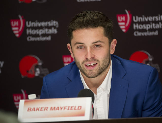 The Cleveland Browns drafted QB Baker Mayfield with the No. 1 pick in last week's NFL draft, but Mayfield's agent claims the New England Patriots were ready to pounce had the Browns passed. (AP)