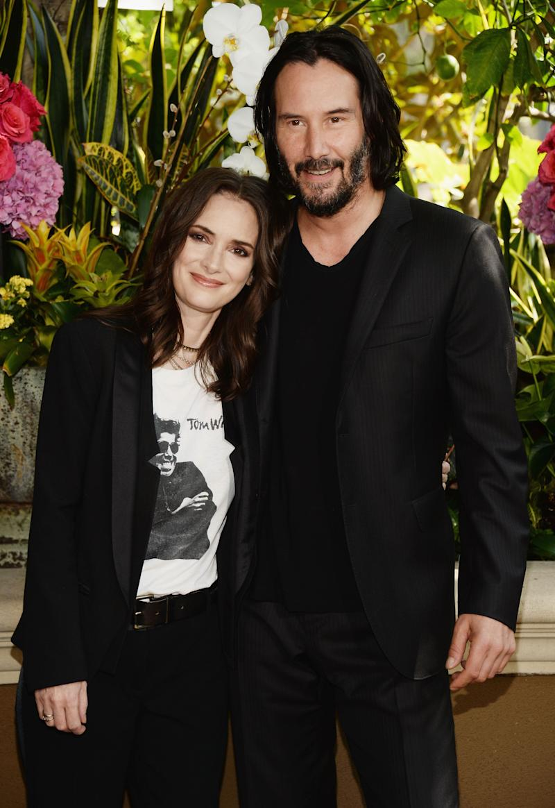 "Winona Ryder and Reeves attend a photo call for ""Destination Wedding"" at the Four Seasons Hotel Los Angeles."