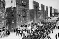 <p>Despite the cold weather, a large crowd witnessed the dedication of Astor Housing Project, on Avenue A and 3rd Street. It was the first of the government's model housing developments to be completed.</p>