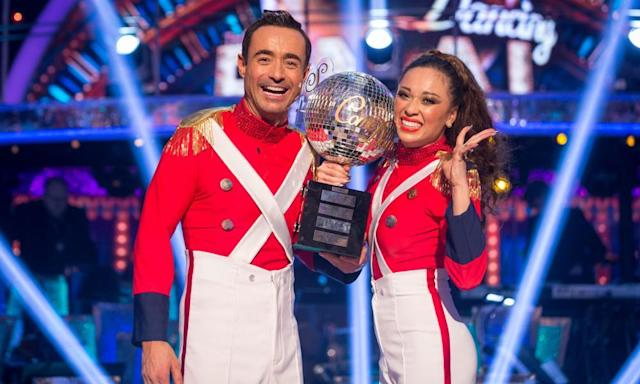 "<span class=""element-image__caption"">Katya Jones and Joe McFadden with the trophy after winning the final of the final.</span> <span class=""element-image__credit"">Photograph: Guy Levy/BBC/PA</span>"