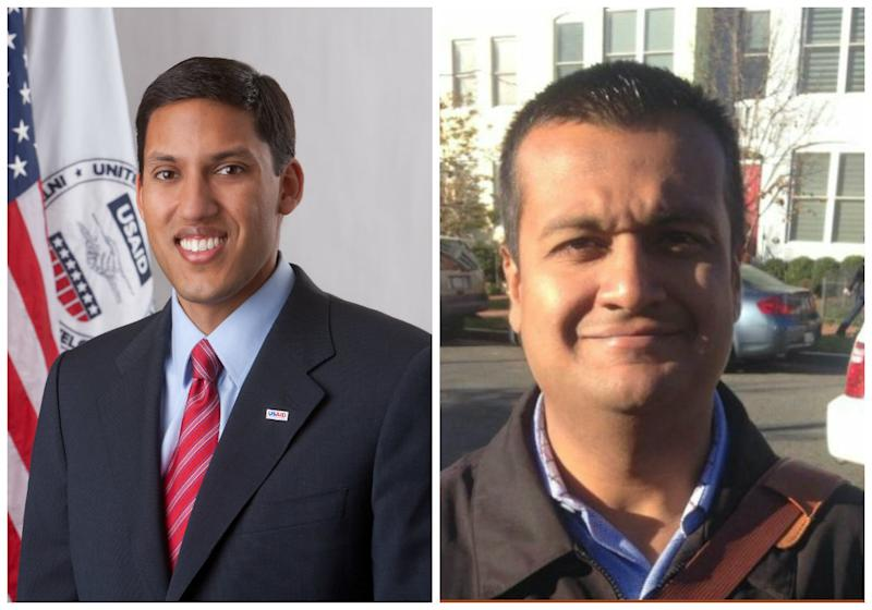 Raj Shah on the left served in the Obama administration. Raj Shah on the right handles communications in the Trump White House. (USAID/Twitter/rajshah45)