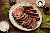 "Using dried porcini mushrooms as the base of the rub for this dramatic centerpiece roast gives it the funky, earthy flavor usually associated with expensive dry-aged beef. Our tangy <a href=""http://www.epicurious.com/recipes/food/views/horseradish-yogurt-sauce?mbid=synd_yahoo_rss"" rel=""nofollow noopener"" target=""_blank"" data-ylk=""slk:Horseradish-Yogurt Sauce"" class=""link rapid-noclick-resp"">Horseradish-Yogurt Sauce</a> is the perfect accompaniment. <a href=""https://www.epicurious.com/recipes/food/views/porcini-rubbed-beef-rib-roast?mbid=synd_yahoo_rss"" rel=""nofollow noopener"" target=""_blank"" data-ylk=""slk:See recipe."" class=""link rapid-noclick-resp"">See recipe.</a>"
