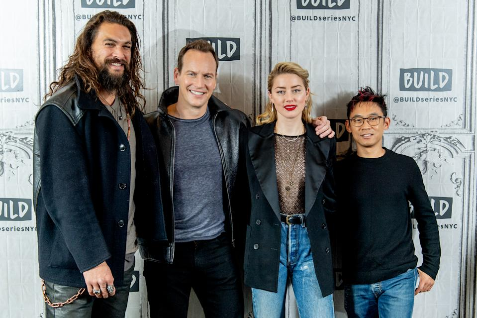 """NEW YORK, NEW YORK - DECEMBER 03: Jason Momoa, Patrick Wilson, Amber Heard and James Wan discuss """"Aquaman"""" with the Build Series at Build Studio on December 03, 2018 in New York City. (Photo by Roy Rochlin/Getty Images)"""