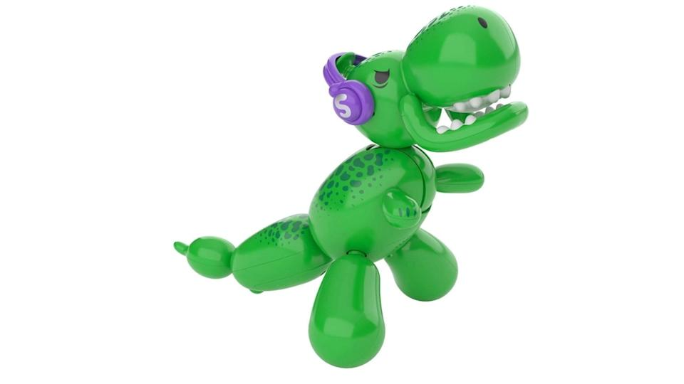 This dino roars, stomps, dances, and deflates!