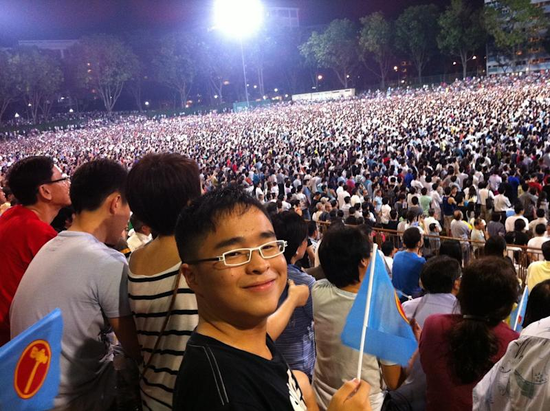 The author at a Workers' Party rally in Yishun Stadium during the GE 2011 hustings. (PHOTO: Sean Lim)