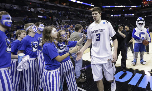 Creighton's Doug McDermott (3) walks off the court following a second-round game against Louisiana Lafayette in the NCAA college basketball tournament Friday, March 21, 2014, in San Antonio. Creighton won 76-66. (AP Photo/Eric Gay)