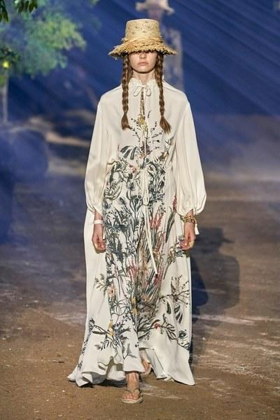 Dior's ethereal Spring dresses featured herbarium motifs.