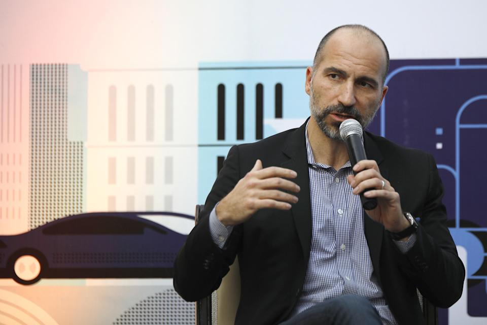 Dara Kowsrowshahi, chief executive officer of Uber Technologies Inc., speaks during an event in New Delhi, India, on Thursday, Feb. 22, 2018. During his Japan trip, Khosrowshahi has made it clear the ride-hailing company isnt scaling back its ambitions in certain Asian markets, despite speculation of a retreat. Photographer: Anindito Mukherjee/Bloomberg via Getty Images