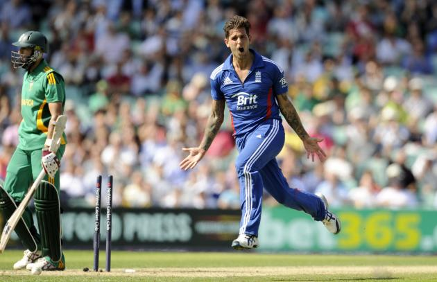 Dernbach celebrates after dismissing Hashim Amla at the Kia Oval.