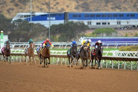 Nov 3, 2017; Del Mar, CA, USA; Forever Unbridled (one from right) leads Paradise Woods (right) and Elate (two from right) Abel Tasman (center) Stellar Wind (one from right) and Romantic Vision come down the final stretch in the ninth race during the 34th Breeders Cup world championships at Del Mar Thoroughbred Club. Mandatory Credit: Jake Roth-USA TODAY Sports
