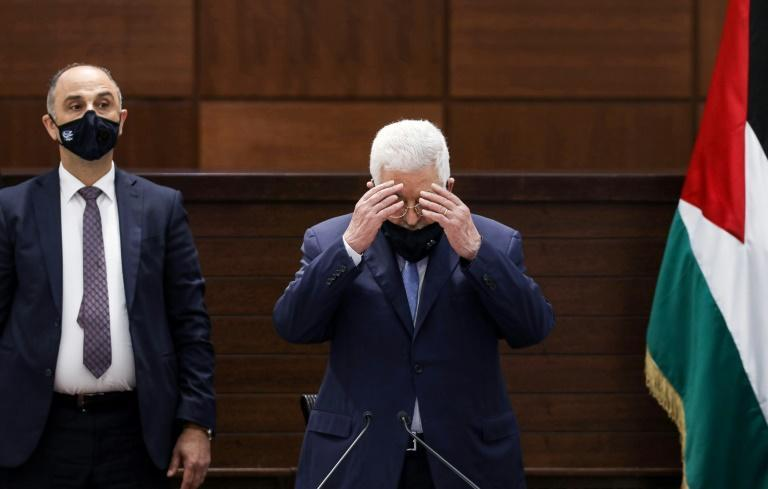 Palestinian president Mahmud Abbas, reciting a prayer while wearing a face mask in Ramallah on September 3, 2020, has appealed for an international conference on the Middle East