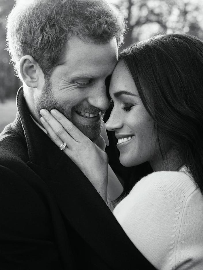 Prince Harry and Meghan Markle's black and white engagement photo.