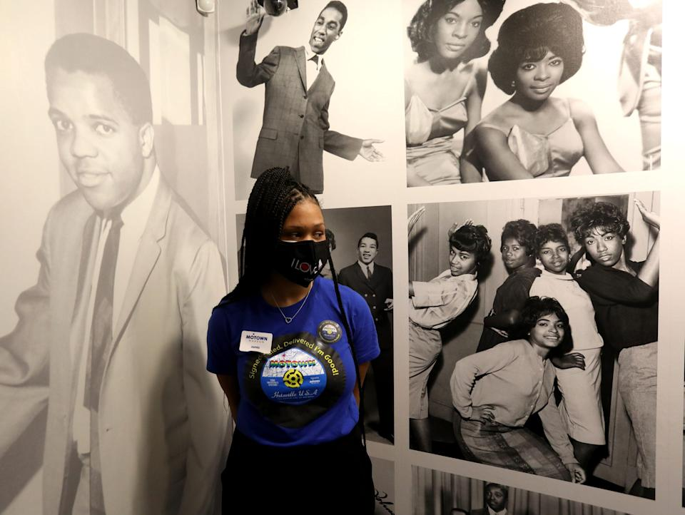 Tour guide Jamia Henry, 19, awaits a tour group at the Motown Museum. The Detroit museum opened on July 15, 2020, after being shut down during the coronavirus pandemic.