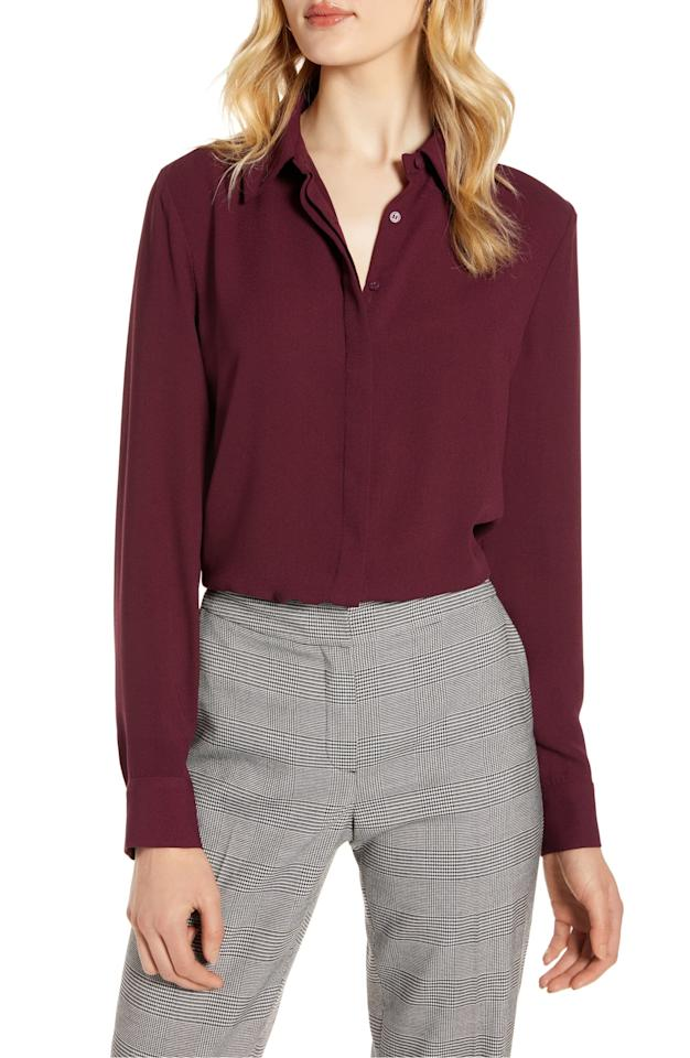 """<p>This <a href=""""https://www.popsugar.com/buy/Halogen-Hidden-Button-Long-Sleeve-Blouse-486097?p_name=Halogen%20Hidden%20Button%20Long-Sleeve%20Blouse&retailer=shop.nordstrom.com&pid=486097&price=47&evar1=fab%3Aus&evar9=45940200&evar98=https%3A%2F%2Fwww.popsugar.com%2Ffashion%2Fphoto-gallery%2F45940200%2Fimage%2F46563886%2FHalogen-Hidden-Button-Long-Sleeve-Blouse&list1=shopping%2Cnordstrom%2Ctops%2Cspring%20fashion%2Csale%20shopping&prop13=mobile&pdata=1"""" rel=""""nofollow"""" data-shoppable-link=""""1"""" target=""""_blank"""" class=""""ga-track"""" data-ga-category=""""Related"""" data-ga-label=""""https://shop.nordstrom.com/s/halogen-hidden-button-long-sleeve-blouse-regular-petite/5435650?origin=category-personalizedsort&amp;breadcrumb=Home%2FSale%2FWomen%2FClothing%2FTops&amp;color=pink%20bride"""" data-ga-action=""""In-Line Links"""">Halogen Hidden Button Long-Sleeve Blouse </a> ($47, originally $79) comes in tons of different colors.</p>"""