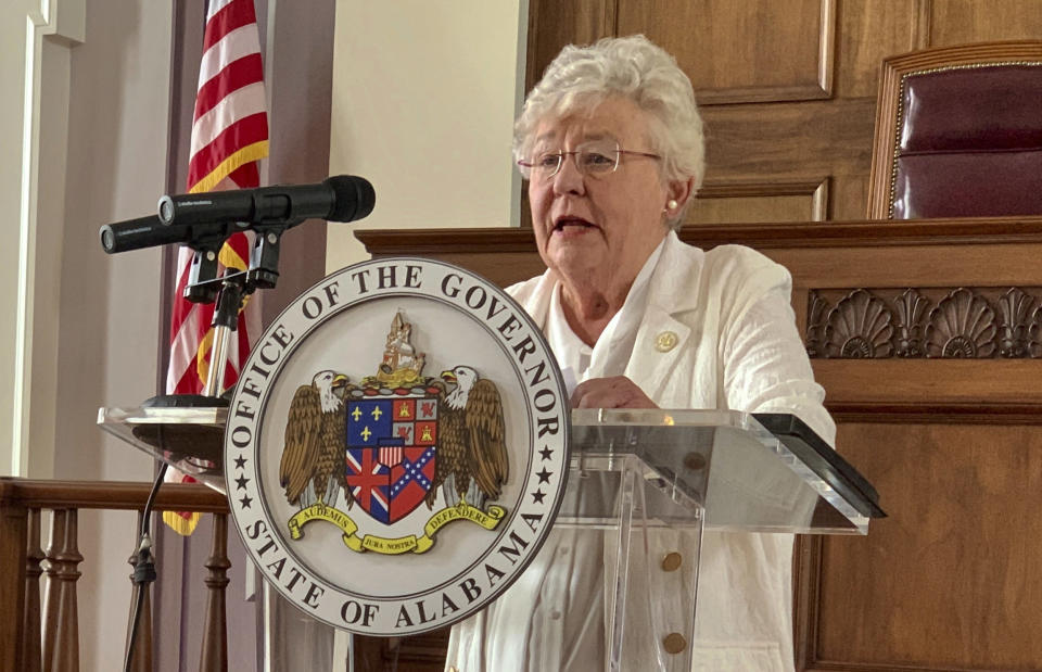 FILE - In this July 29, 2020 file photo, Alabama Gov. Kay Ivey speaks during a news conference in Montgomery, Ala. Alabama lawmakers return to Montgomery on Monday, Sept. 27, 2021, to vote on a $1.3 billion prison construction plan proponents say will help address the state's longstanding problems in corrections, but critics argue the troubles go much deeper and won't be remedied with brick, mortar and bars. Alabama Gov. Kay Ivey called a special session next week for lawmakers to vote on the construction plan as well as a sentencing and supervision bill. Ivey said Alabama is risking a federal takeover of the prison system. (AP Photo/Kim Chandler, File)