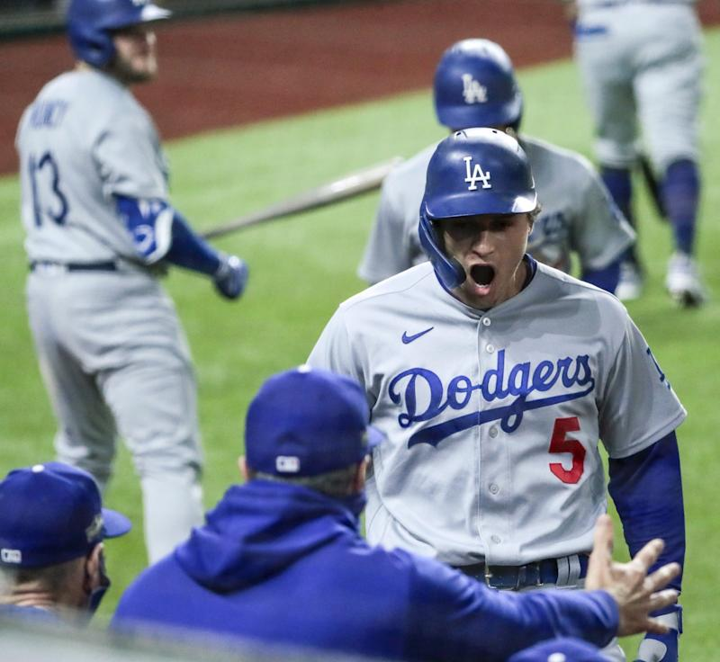 Dodgers shortstop Corey Seager celebrates after hitting a two-run home run in the seventh inning.
