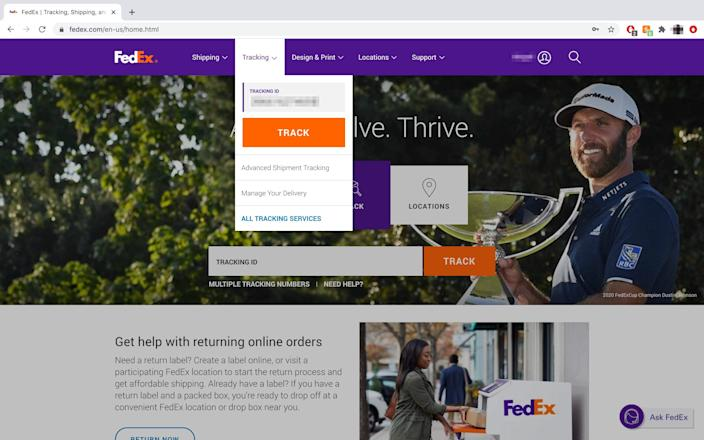 "You can also track a package straight from the FedEx homepage. <p class=""copyright"">Abigail Abesamis Demarest/Business Insider</p>"
