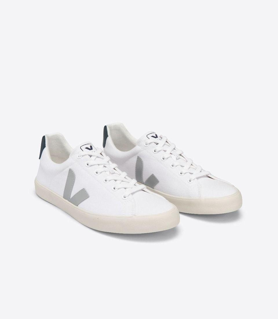 "<p><strong>Veja</strong></p><p>veja-store.com</p><p><strong>$100.00</strong></p><p><a href=""https://www.veja-store.com/en_us/esplar-se-canvas-white-oxford-grey-nautico-se012587.html"" rel=""nofollow noopener"" target=""_blank"" data-ylk=""slk:Shop Now"" class=""link rapid-noclick-resp"">Shop Now</a></p><p>Veja prioritizes <a href=""https://project.veja-store.com/en/single/transparency/"" rel=""nofollow noopener"" target=""_blank"" data-ylk=""slk:transparency"" class=""link rapid-noclick-resp"">transparency</a> with clear explanations of their <a href=""https://www.goodhousekeeping.com/home/a32712051/sustainable-living-guide/"" rel=""nofollow noopener"" target=""_blank"" data-ylk=""slk:sustainability pracitces"" class=""link rapid-noclick-resp"">sustainability pracitces</a>, future goals and CO2 emissions. These sneakers are made with <strong>100% organic cotton </strong>for the upper material, inner lining and shoelaces. </p>"
