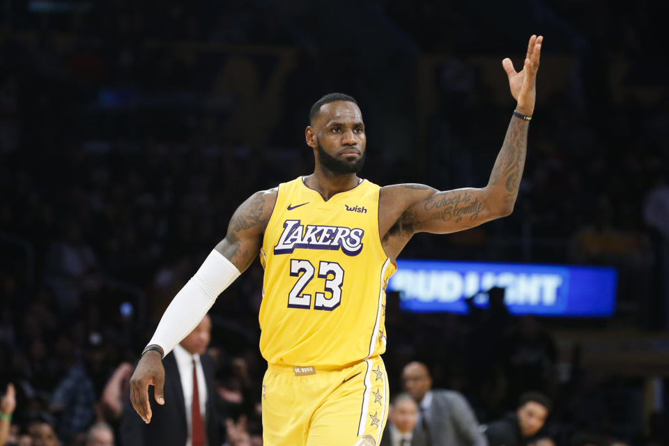 Los Angeles Lakers' LeBron James (23) reacts during an NBA basketball game between Los Angeles Lakers and Los Angeles Clippers, Wednesday, Dec. 25, 2019, in Los Angeles. The Clippers won 111-106. (AP Photo/Ringo H.W. Chiu)