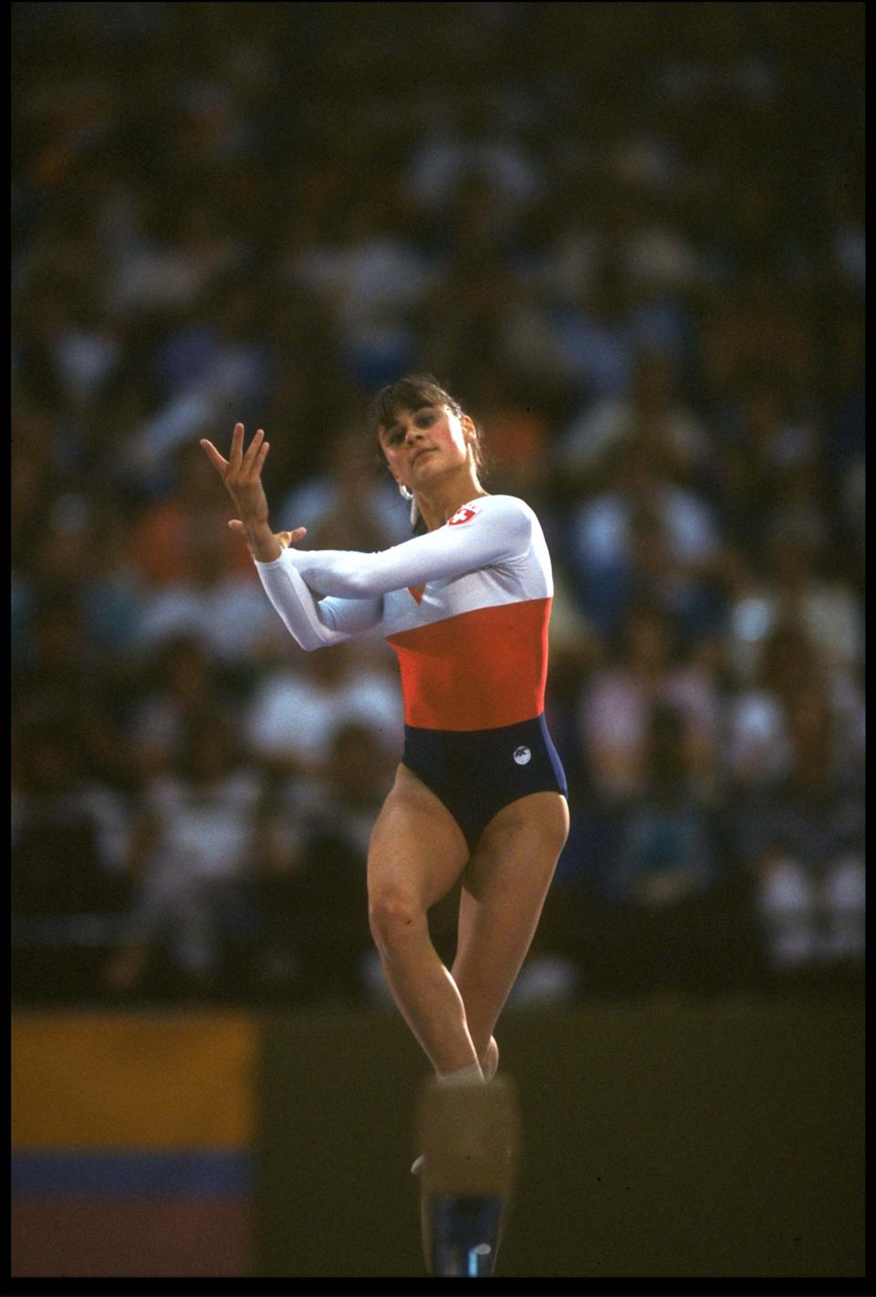 5 AUG 1984: ROMI KESSLER OF SWITZERLAND IN ACTION DURING HER ROUTINE ON THE BALANCE BEAM AT THE 1984 LOS ANGELES OLYMPICS. KESSLER FINISHED IN 6TH PLACE WITH A SCORE OF 19.35.