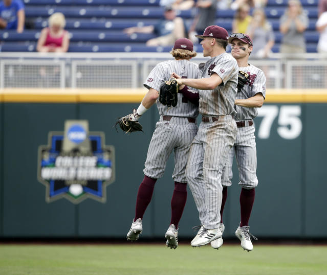 Mississippi State players celebrated after their win over North Carolina in the College World Series on Tuesday. (AP)
