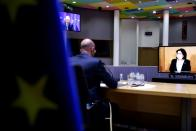 European Council President Charles Michel attends a video conference meeting with Georgian President Salome Zurabishvili