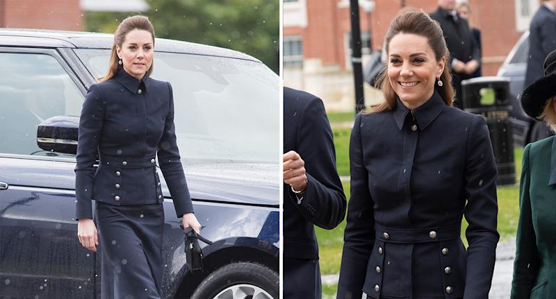 The Duchess of Cambridge pictured wearing an Alexander McQueen jacket today. (Photo: Getty)