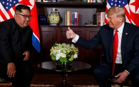 The meeting between Donald Trump and Kim Jong-un in Singapore in June, which has produced few concrete results - Credit: Evan Vucci/AP