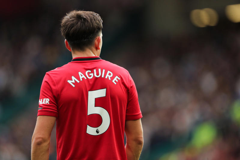 MANCHESTER, ENGLAND - AUGUST 11: Harry Maguire of Manchester United during the Premier League match between Manchester United and Chelsea FC at Old Trafford on August 11, 2019 in Manchester, United Kingdom. (Photo by Matthew Ashton - AMA/Getty Images)