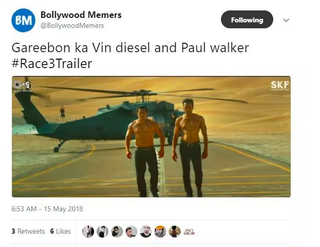 <p>Twitterati compared 'Race 3' with the 'Fast and Furious' series in the funniest way. </p>